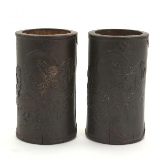 two-chinese-bamboo-brush-pots