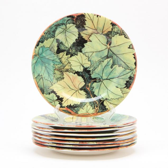 gien-china-set-of-eight-feuillage-plates