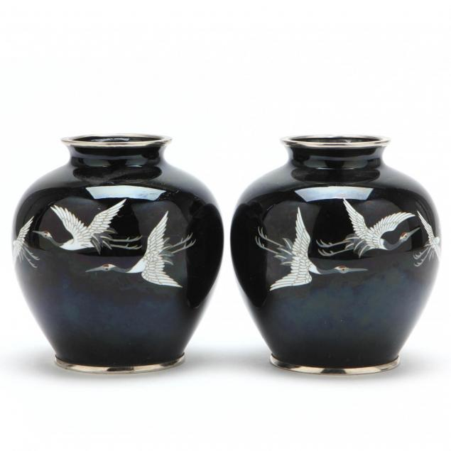 a-pair-of-japanese-sato-cloisonne-vases-with-cranes