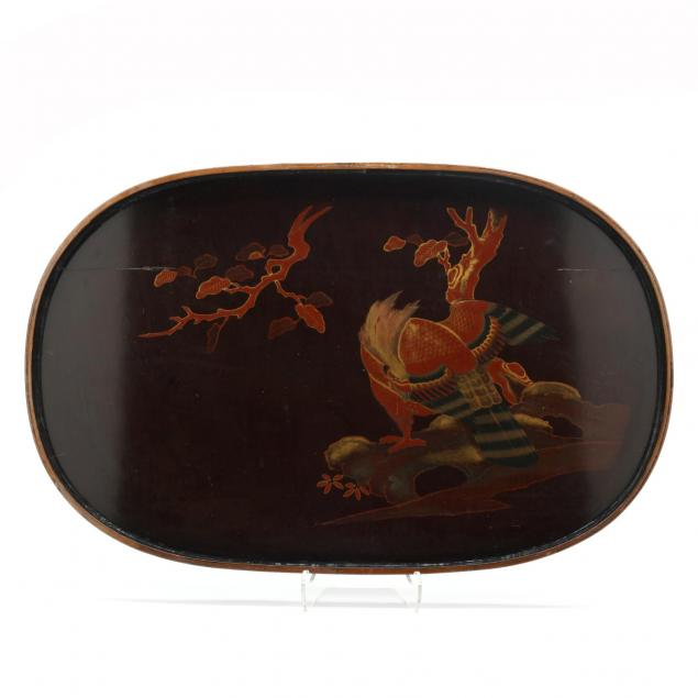 a-japanese-large-oval-lacquered-wooden-tray-with-eagle