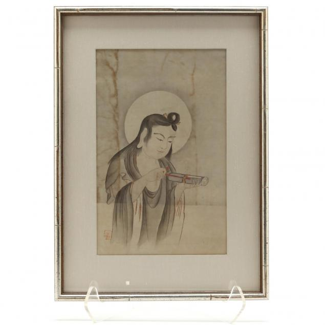 a-japanese-woodblock-print-of-monju-bosatsu