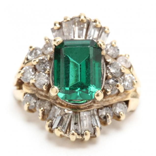 14kt-synthetic-emerald-and-diamond-ring-setting