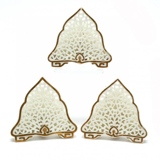 three-antique-reticulated-porcelain-menu-holders