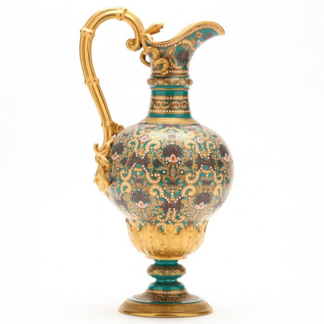 a-classical-form-jewelled-porcelain-cabinet-ewer-copeland