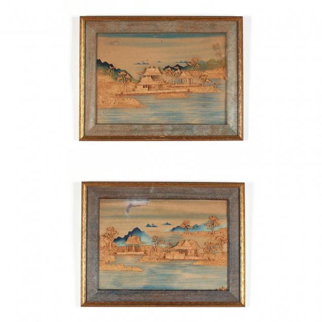 pair-of-asian-relief-cork-landscapes