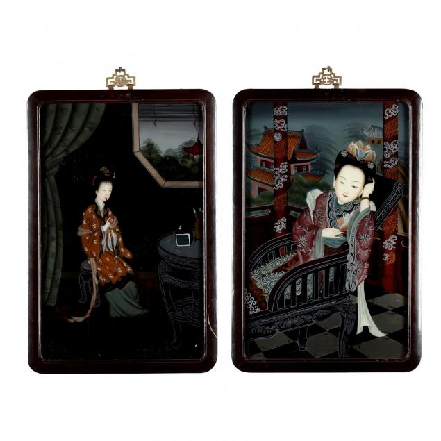 two-chinese-reverse-paintings-on-glass