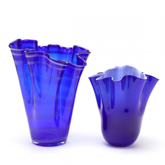 two-cobalt-handkerchief-style-vases
