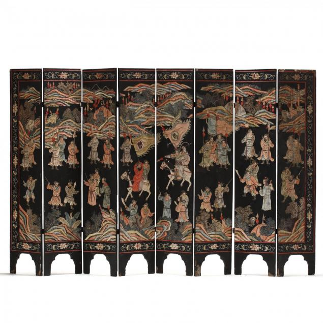 an-antique-eight-panel-folding-chinese-screen
