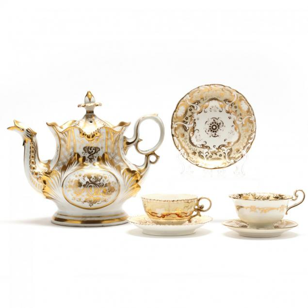 german-factory-porcelain-teapot-cups-and-saucers-group-gilt-decorated