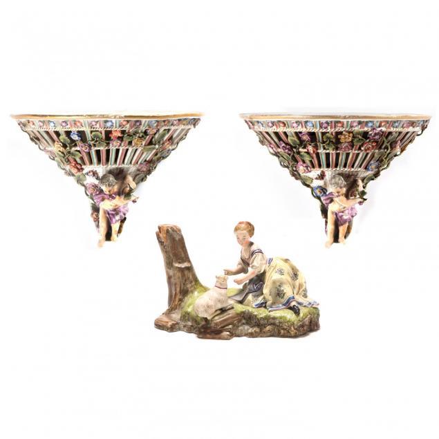 german-porcelain-wall-brackets-and-a-figurine