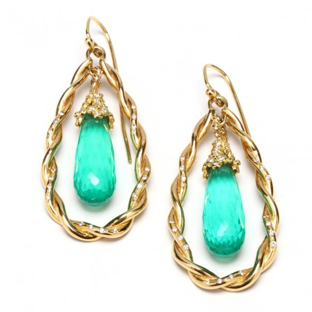 pair-of-18kt-gold-synthetic-emerald-and-diamond-pendant-earrings