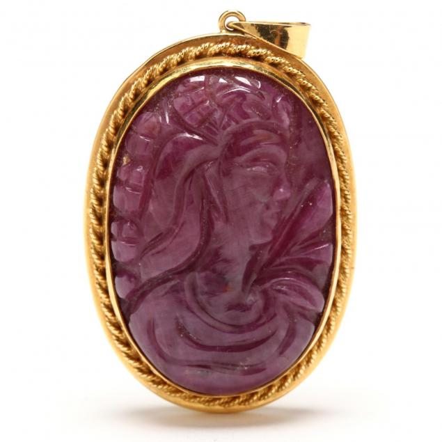 18kt-gold-and-carved-ruby-cameo-pendant