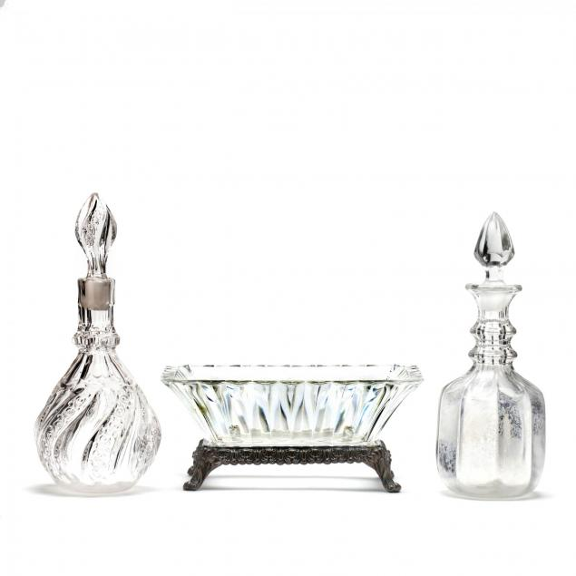 two-glass-decanters-and-a-silverplate-glass-centerpiece