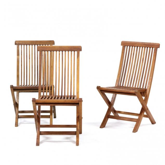 set-of-three-teak-folding-deck-chairs