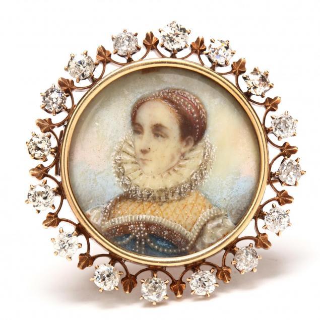 antique-gold-and-diamond-portrait-miniature-brooch-pendant