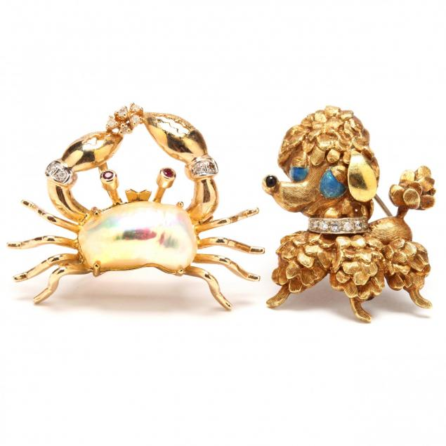 two-gold-and-gem-set-whimsical-brooches
