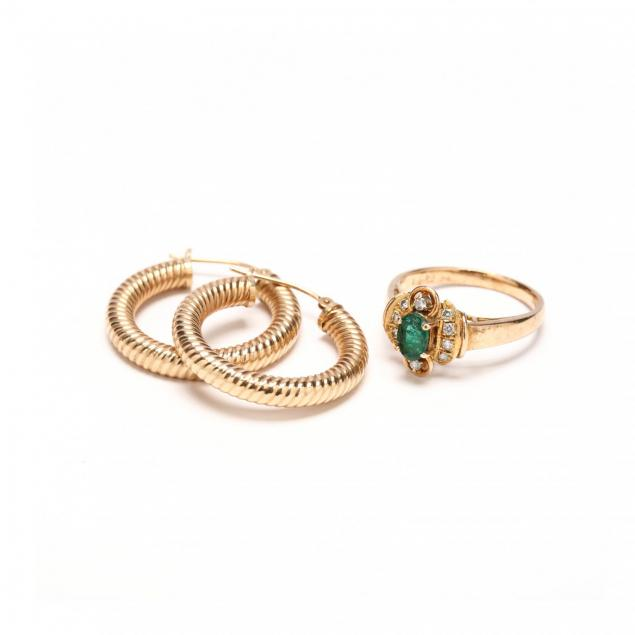 14kt-emerald-and-diamond-ring-and-a-pair-of-14kt-ear-hoops