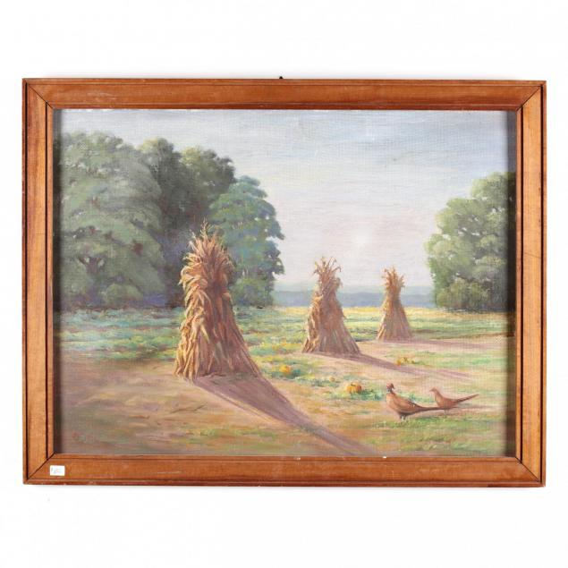 basil-hamilton-canadian-1893-1942-two-pheasants-in-a-cornfield