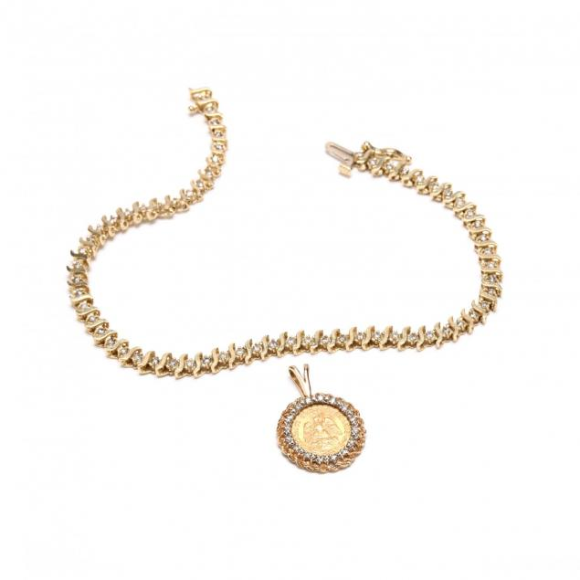 two-gold-and-diamond-jewelry-items