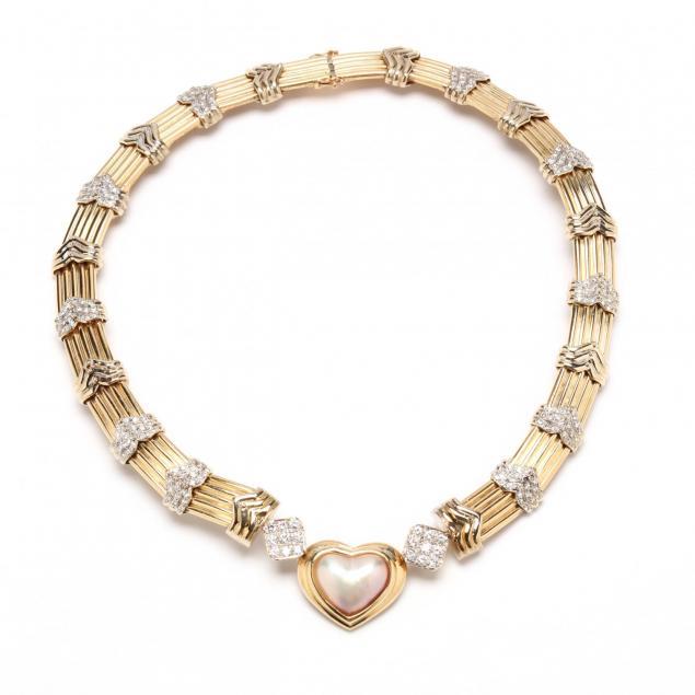 14kt-diamond-and-mabe-pearl-choker