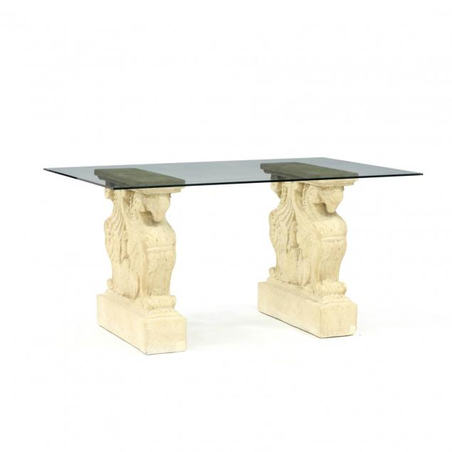 architectural-glass-and-cast-stone-console-table