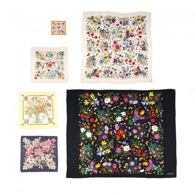a-group-of-six-floral-print-scarf-accessories-gucci-and-hermes