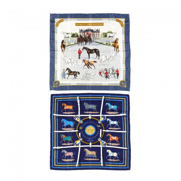 two-silk-scarves-with-equestrian-theme-hermes