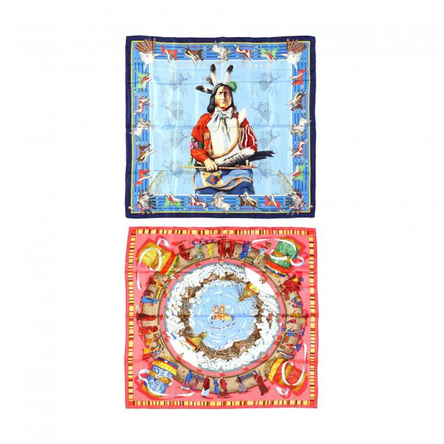 two-silk-scarves-with-ethnic-designs-hermes