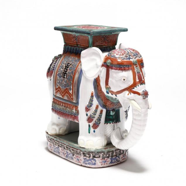 glazed-elephant-garden-stool