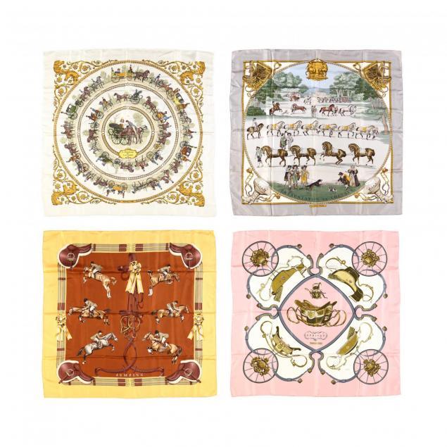 four-vintage-philippe-ledoux-design-scarves-hermes