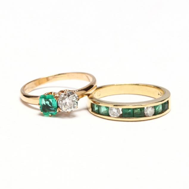 two-18kt-emerald-and-diamond-rings