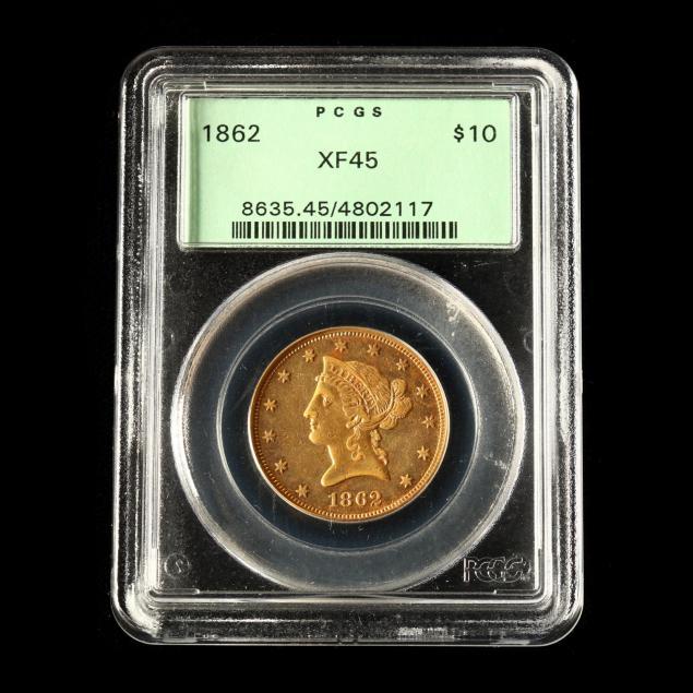 1862-10-liberty-head-gold-eagle-pcgs-xf45