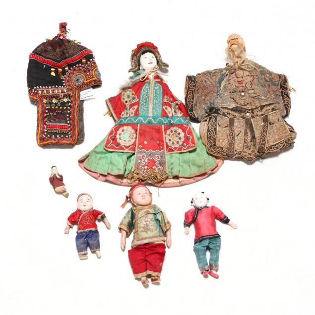 a-group-of-rare-antique-asian-dolls-and-akha-hat
