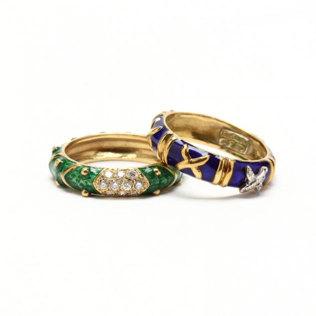 two-18kt-gold-enamel-and-diamond-rings-hidalgo