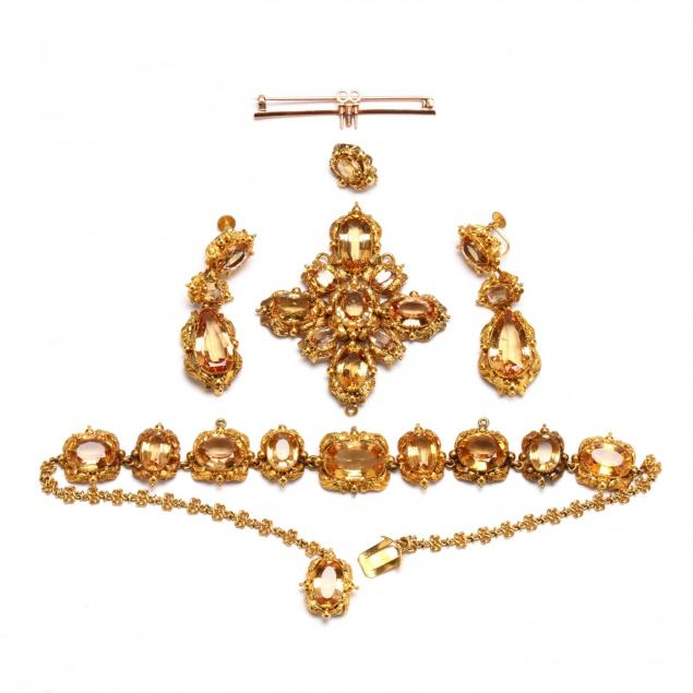 antique-gold-and-topaz-demi-parure