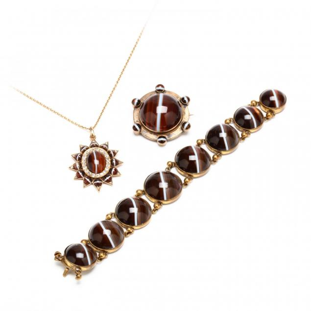 group-of-antique-banded-agate-jewelry