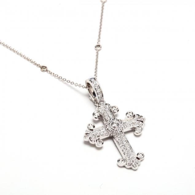 18kt-cross-pendant-with-14kt-diamond-station-chain-necklace