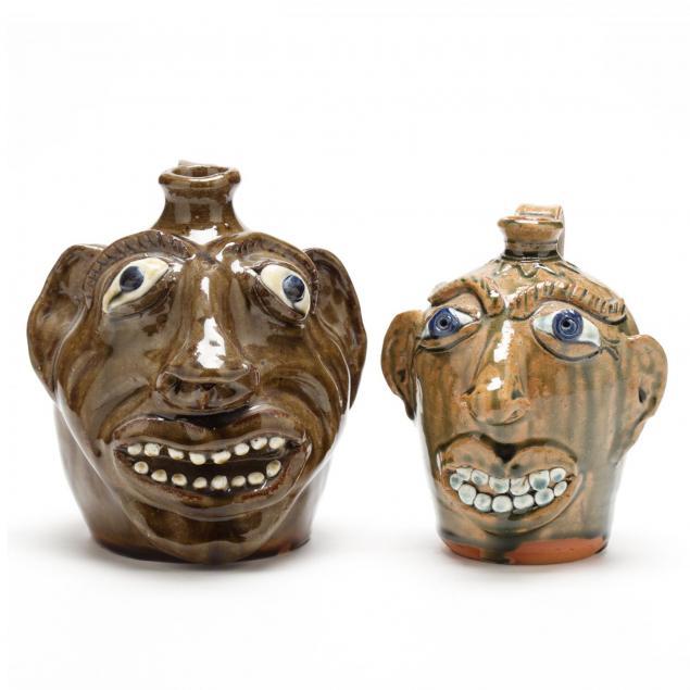 nc-folk-pottery-two-albert-hodge-face-jugs