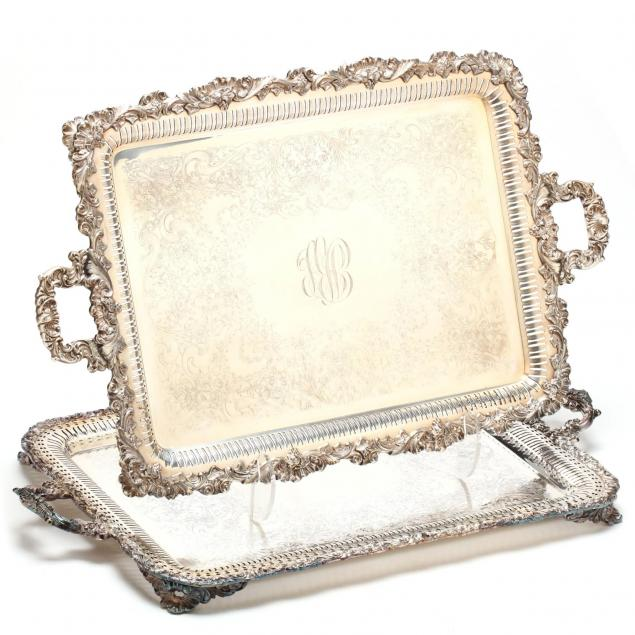a-near-pair-of-large-vintage-silverplate-trays