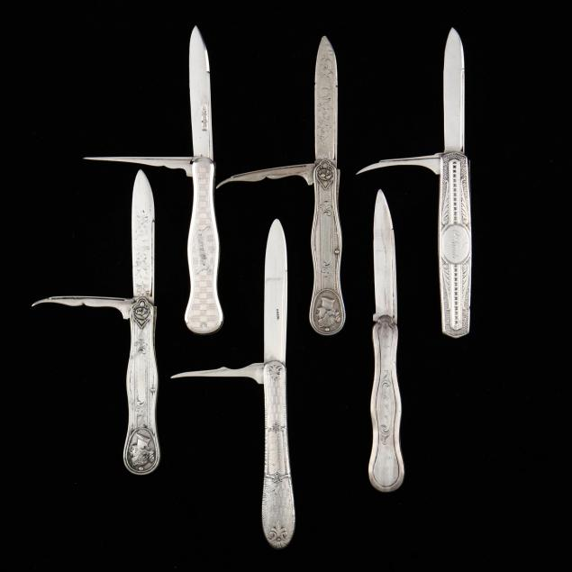 six-silver-pocket-knives