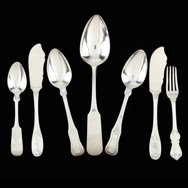a-group-of-charleston-sc-coin-silver-flatware