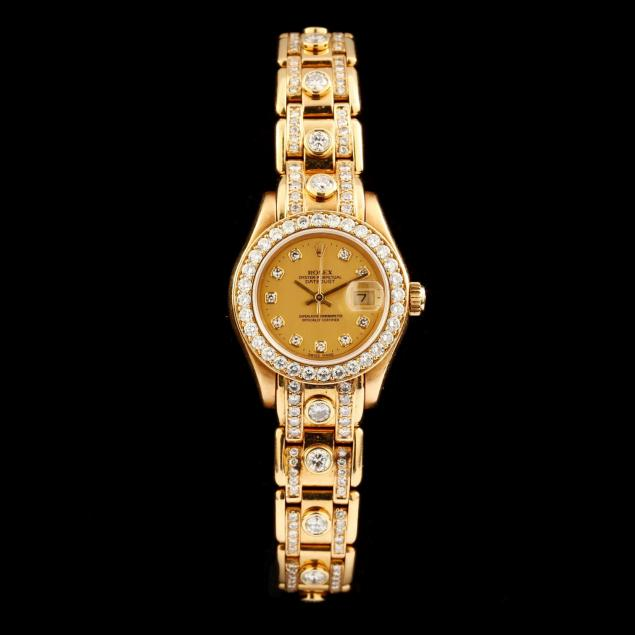 lady-s-18kt-gold-and-diamond-pearlmaster-watch-rolex