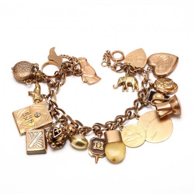 vintage-14kt-gold-charm-bracelet