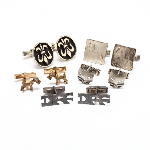 five-pairs-of-sterling-silver-cufflinks