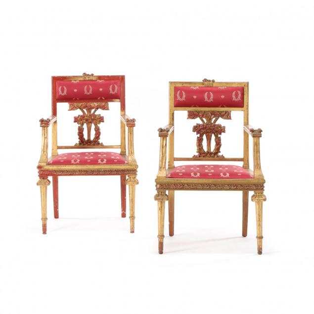 pair-of-italian-neoclassical-style-painted-and-gilt-arm-chairs