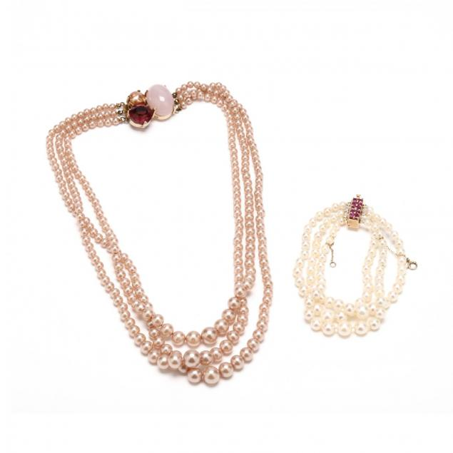 14kt-gold-and-pearl-bracelet-with-faux-pearl-necklace