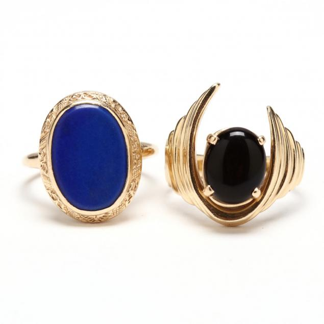 two-14kt-gold-and-hard-stone-rings