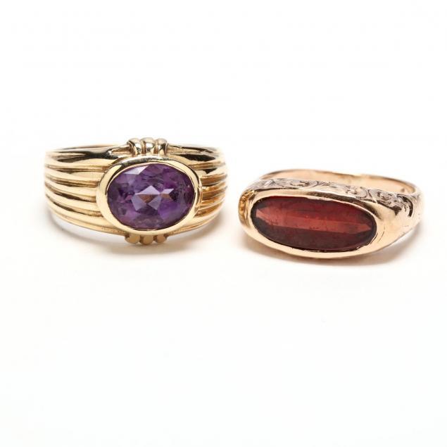two-14kt-gold-gemset-rings