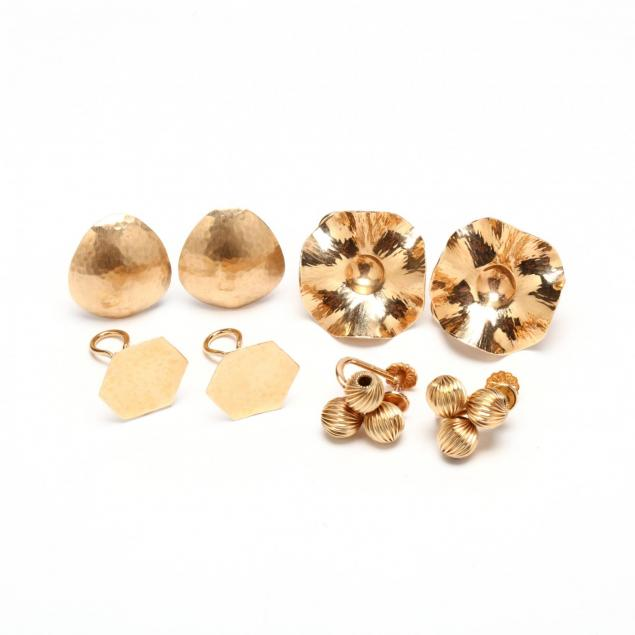 four-pairs-14kt-gold-ear-clips