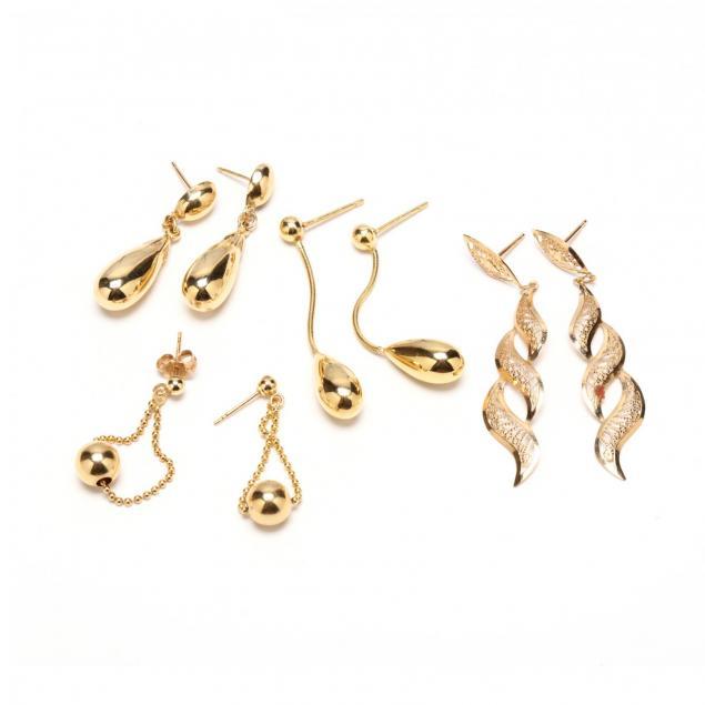 four-pair-14kt-gold-pendant-earrings
